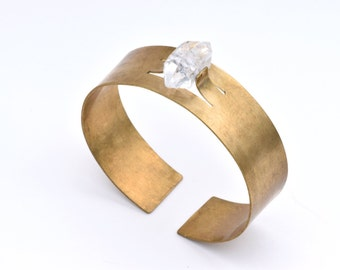 Setja Cuff - Herkimer Diamond Quartz Brass Bracelet, Bangle