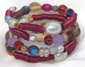 Wrap Bracelet: Chunky Cuff Style with Fuchsia and Berry Colors