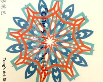 "3 Layers Mandala Style Paper Cut -002, Three layered cuttings, color combined paper cuttings. 8"" x 8"" paper cut, unframed, fit 10""x10"" frame"