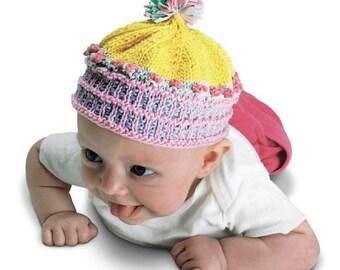 Knitting Kit/ Cupcake Beanie/Newborn to Three Years/Hand Knitting kit/Baby Beanie/Newborn Hat/Newborn Beanie/Cupcake/Baby Beanie/Debby Ware