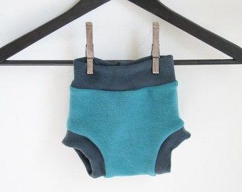interlock soaker - merino wool MEDIUM diaper cover - 6 to 12 months - teal and gray wool diaper cover - rebourne soaker hand dyed wool