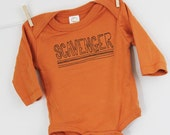 Scavenger long sleeve bodysuit organic cotton baby clothes screen printed vintage style