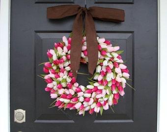 Silk Tulip Valentine's Day Wreath- Valentine's Day Wreaths- Valentines Day Decoration- Valentines Day Decor- Tulip Wreath