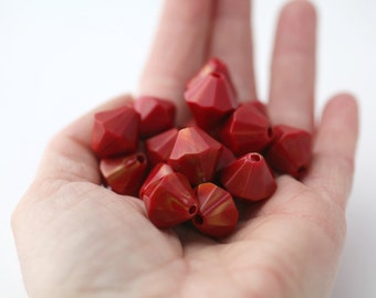 Red Gold Wash Faceted Acrylic Bicone Beads 15mm (16)