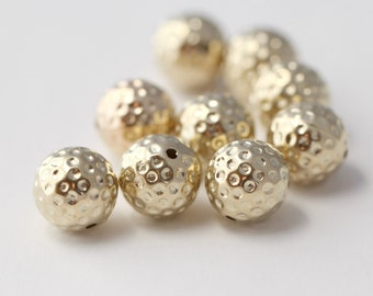 Gold Acrylic Dimpled Round Polka Dot Beads 14mm (12)