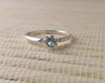 Aquamarine Ring Sterling Silver March Birthstone Ready to ship size 5.5