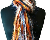 Detroit Tigers Colors- Sports Scarves College Scarfs - Blue, Orange and White