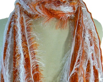 Texas Longhorns colors or Tennessee Volunteers colors - College Scarf Womens Scarves - Orange and White
