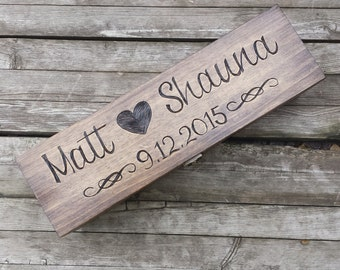 Custom Engraved & Personalized Wedding Wine Box, first fight box, Memory Box, Time Capsule  for Wedding Day, Anniversary or Special Occasion