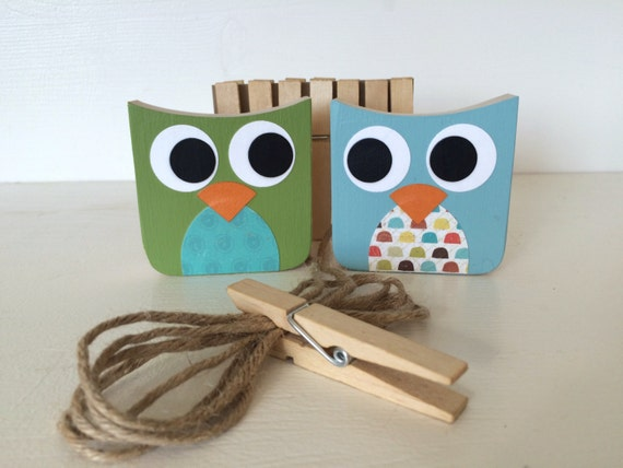Owl Art Display Clips, Green and Blue, Owl Kids Decor, Owl Decor,  eco-friendly
