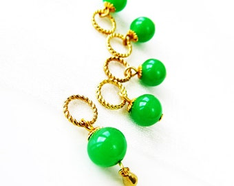 SALE - A Green Torrent - Five Handmade Stitch Markers - 5.0mm (8 US) - Limited Edition
