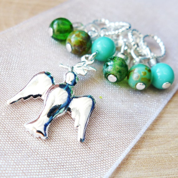 On Silver Wings - Six Handmade Stitch Markers - 5.0mm (8 US) - Limited Edition