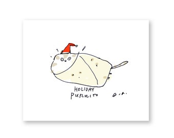 Funny Christmas Card - Holiday Purrito - Cat Christmas Card