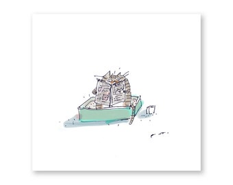 Quality Toilet Time - Stripped Tabby Cat Version - Funny Cat Art- Art for Bathroom
