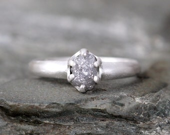 Raw Diamond Engagement Ring - Conflict Free - Sterling Silver Matte Texture -  Stacking Ring- Raw Gemstone - April Birthstone - Promise Ring