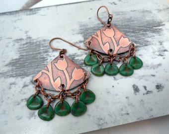 Etched Copper Chandelier Earrings, Floral Etched, Triangle with Czech Glass Green Petal Drops