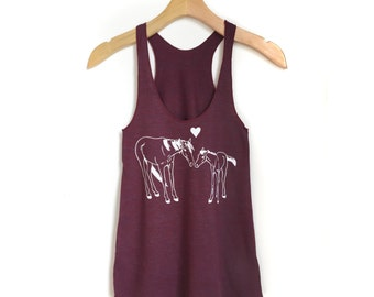 Women's Horse tank top, tank tops, horse shirt, pony shirt, red maroon shirt, womens clothing, horse gift, horse lover, animal tank tops