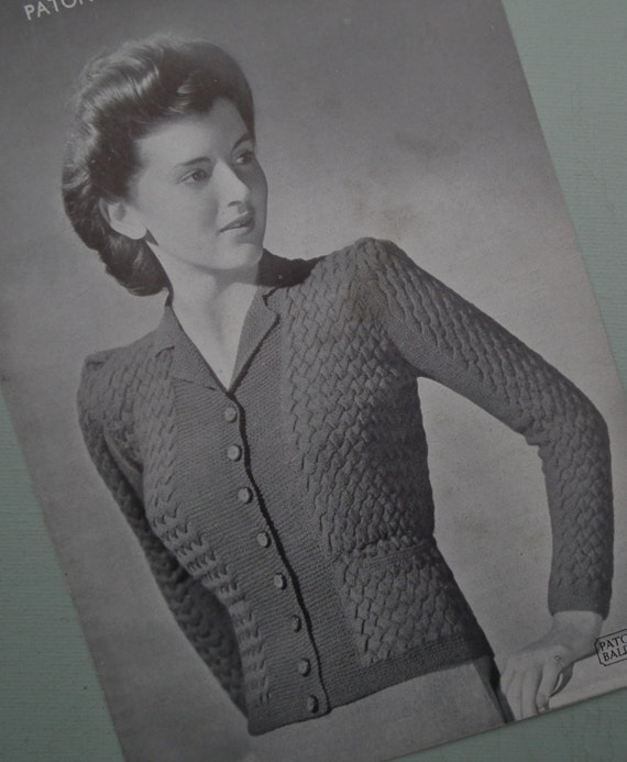 Vintage Knitting Pattern 1940s Womens Cardigan by sewmuchfrippery