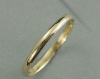 Yellow Gold Wedding Band--Thin 10K Gold Band--Women's Wedding Ring--Solid 10K Yellow Gold Band--Hand Made Half Round Wedding Ring