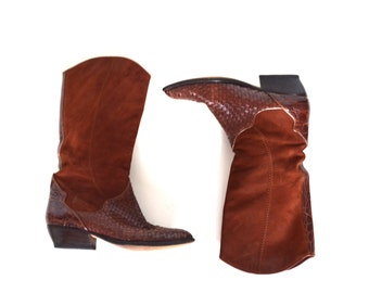 Vintage Suede and Woven Leather Boots / Size 4.5/5