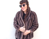 Vintage Dark Brown Vegan Friendly FAUX FUR Winter Fall Coat Jacket 1950s 1940s Fur Coat