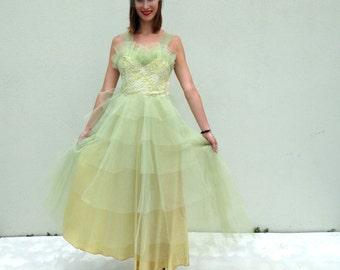 Vintage Prom Dress 1950s Prom Dress Strapless Dress Tea Length Dress Light Green Prom Dress Sheer Tulle Prom Dress Homecoming Dress