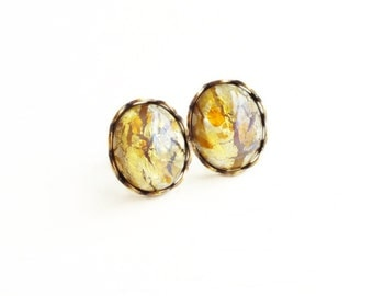 Topaz Opal Studs Vintage Glass Fire Opal Cabochon Post Earrings Gold Amber Hypoallergenic Free Shipping Canada
