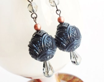 Carved Black Earrings Vintage Beads Copper Smoky Grey Art Deco Jewelry Free Shipping Canada