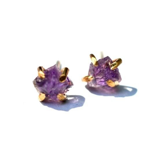 raw amethyst stud earrings rough gemstone earrings