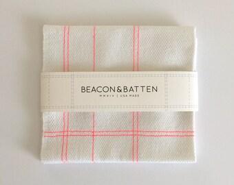Machine Embroidered Tea Towel : White Ground - Neon Pink Thread