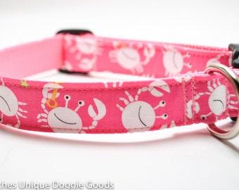 Crab Dog Collar / Crab Diggers in Pink / Nautical Collar / Beach Collar