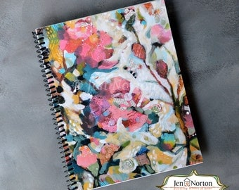 Pink Floral Writing Journal, spiral-bound notebook with lined paper, gift for Christian woman, retreat notebook
