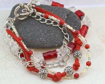 Aphrodite Four Strand Quartz Bracelet - Silver, Red Coral, Hematite - Handmade OOAK - Free US Shipping -Metaphysical Healing Crystal Jewelry