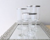 4 stemmed glasses silver rims champagne coupe wine goblet water glass wedding gift