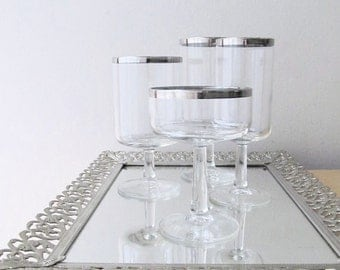 stemmed glasses silver rims champagne coupe wine goblet water glass 4 piece place setting wedding gift