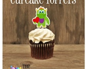 Valentines Day - Set of 12 Monster Cupcake Toppers by The Birthday House