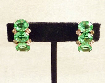 Vintage Rose Gold Plated Sterling Screwback Earrings with Mint Green Glass and Rhinestones