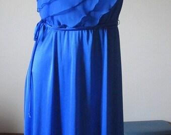 Vintage 80s Cobalt Blue Short Sleeved Ruffle Dress