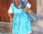 Gypsy Woman, 6x8 Original OIl Daily Painting, Old Woman in Mexico