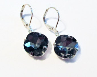 Crystal Earrings - Black Diamond Earrings - Gray Earrings - Silver Earrings - CAPRICE Black Diamond