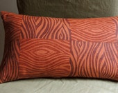 Marsala and Russet Faux Bois Woodgrain Texture Hand Block Printed on burnt orange linen decorative pillow cover your choice of sizes