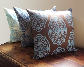 Chinoiserie - hand block printed - chocolate brown - natural undyed - cream linen - home decor - pillow case - choice of sizes