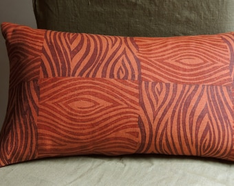 Marsala and Russet Faux Bois Woodgrain Texture Hand Block Printed burnt orange linen colorful decorative home decor throw pillow cover