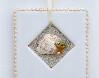 Seashell, Sand & Starfish Picture - Beach Decor - Beach Wedding Gift