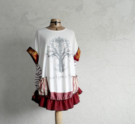 plus size top white tree print upcycled tunic bohemian chic