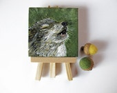 Reserved!  Original Wolf Art Animal Totem Painting Miniature Acrylic on Canvas tiny art with easel modern mini art wildlife portrait