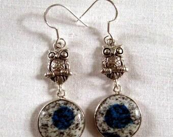 EARRINGS - OWL - AZURITE - Dangle   -  Fish Hooks  - 925 -Sterling Silver        Earrings231