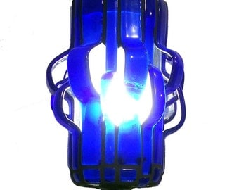 Wavelengths Lamp, Diverted series, Recycled Glass Mosaic Lamp - Cobalt
