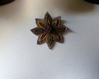 Beaded Applique Exquisite in Brown & Antique Gold No 34 for Bridal, Pendants, Handbags, Costumes, Jewelry, Home Decor.