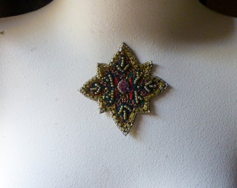 Beaded Applique Exquisite in Red, Green & Gold No 36 for Pendants, Handbags, Costumes, Jewelry, Home Decor.